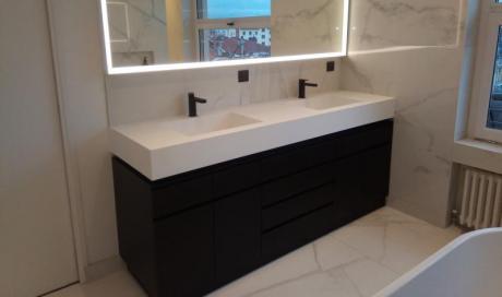 meuble de salle de bain laqué noir mat